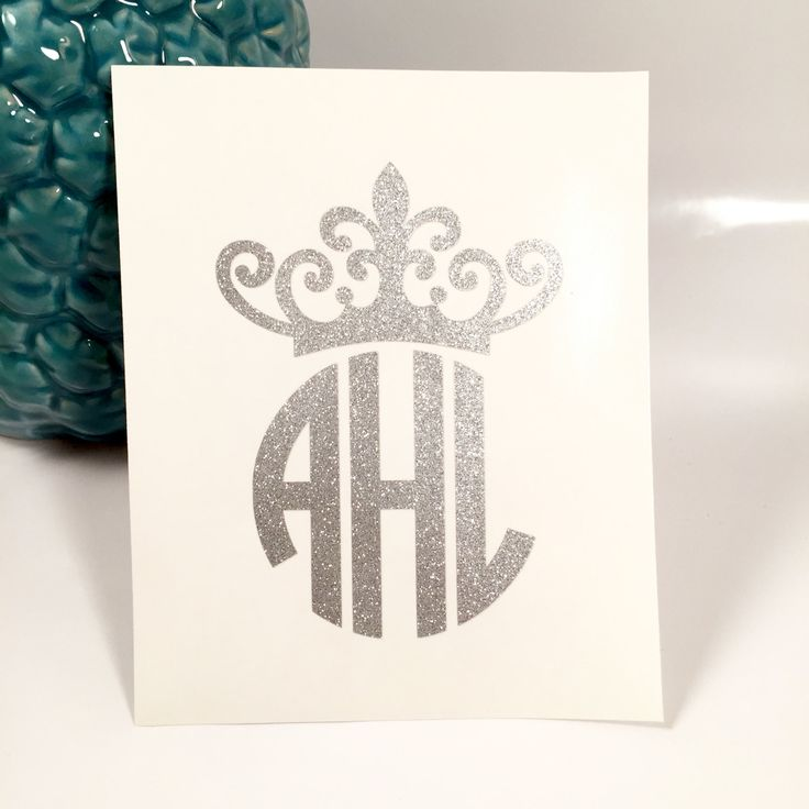 Glitter Personalized Crown Monogram Decal/Sticker, Car Decal, Laptop Decal, Monogram Decal, iPhone Decal, iPad Decal by TurqPineapple on Etsy