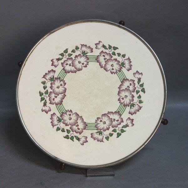 Ceramic cake tray swiveling. Art Nouveau 1900 - 1920.