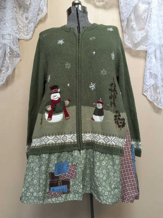 Upcycled Christmas Sweater Snowman Sweater by SimplyCathrineAnn
