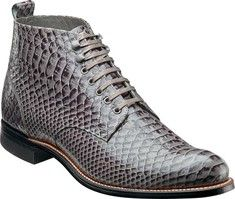 This plain toe demi boot features an anaconda print upper, leather linings and a leather sole.