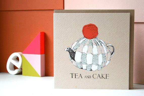 Tea and Cake Card by lizkingillustration on Etsy