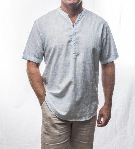 Light Blue Short Sleeve Cotton Shirt