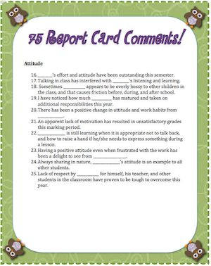 sample remarks for students The written feedback mentors give to student teachers examples of written feedback (47 do the mentors' comments suggest that their students are.