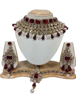 red and white necklaceset at Mirraw