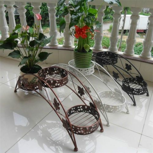 3 Tier Floor Standing Wrought Iron Pot Plant Stand Flower