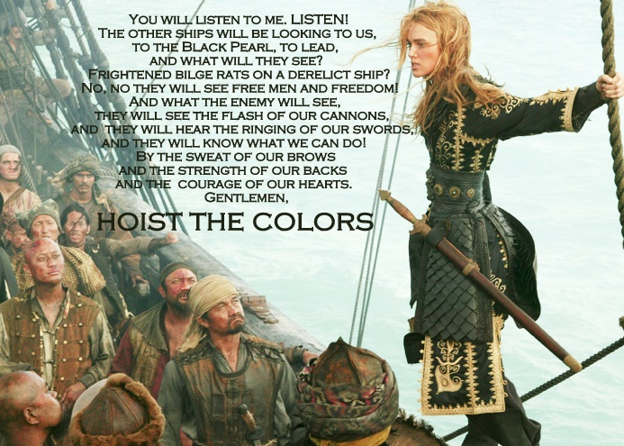 Elizabeth's speech in At Worlds End is one of the best pre-battle movie speeches IMO.