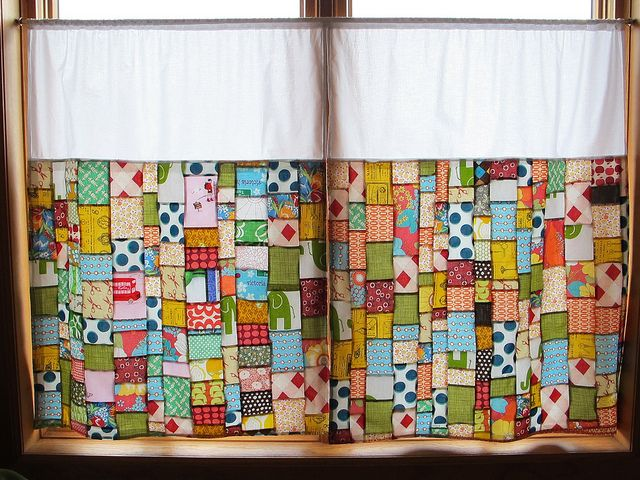 patchwork curtains...like the white panel on top...for the yoga studio/sunroom, but with pastels...
