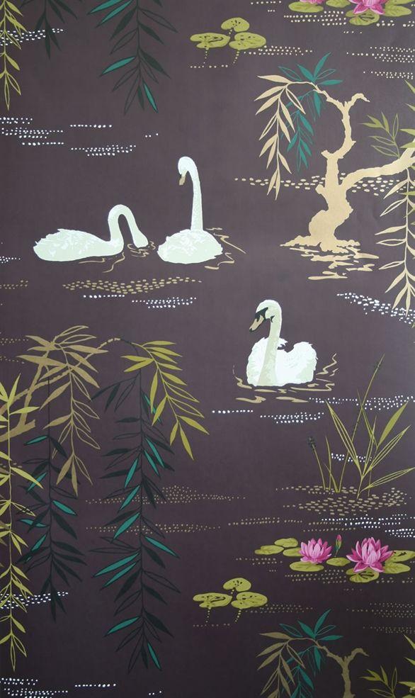 Nina Campbell's 'Swan Lake' wallpaper #wallpaper #swans #spring