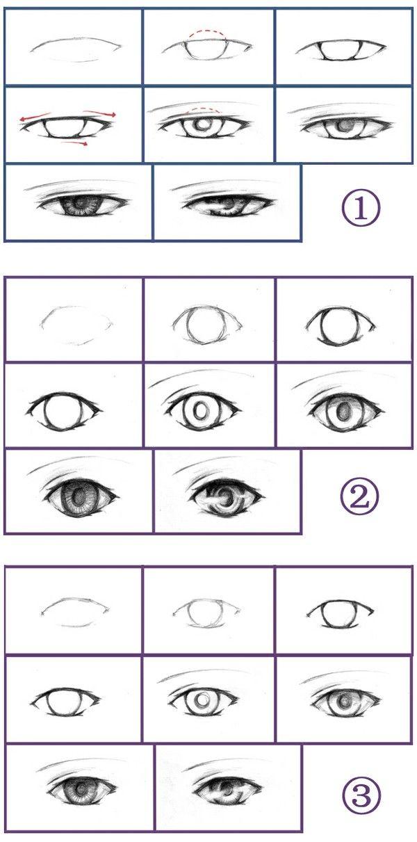 三种眼睛的画法, How to Draw Manga People,Resources for Art Students / Art School Portfolio @ CAPI ::: Create Art Portfolio Ideas at milliande.com , How to Draw Manga Figures, Whimsical Human Figure, Sketch, Draw, Manga, Anime