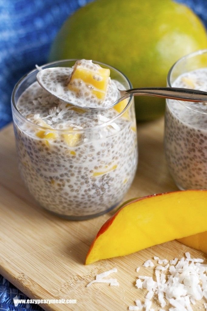 Chia Mango Coconut Pudding (Dairy Free): Dessert for breakfast that is healthy and totally guilt free! You will love this - Eazy Peazy Mealz