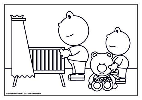 Grote en kleine frokkie hebben er een nichtje bij! Ze gaan op kraambezoek en hebben een mooie beer mee voor hun nichtje! Kleur jij de beer in een mooie kleur?