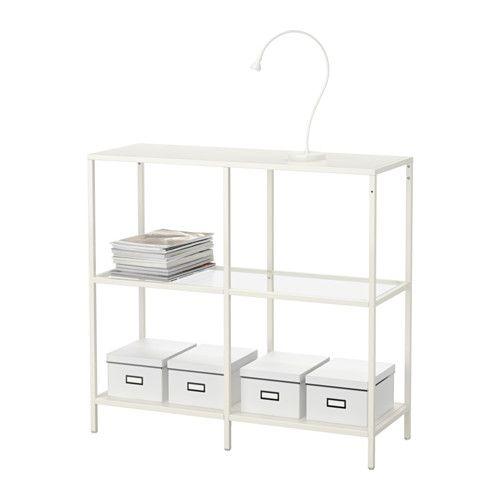VITTSJÖ Estantería - blanco/vidrio - IKEA