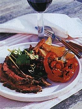This recipe can be prepared in 45 minutes or less but requires additional sitting time.		         Butterflied leg of lamb can sometimes get a little unwieldy. To secure loose flaps of meat, run 2 long metal skewers lengthwise and 2 skewers crosswise through the lamb, bunching the meat together. Securing the lamb this way will also help it cook more evenly.