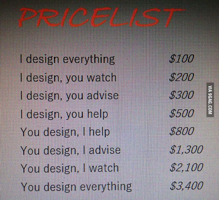 This graphic designer's price list is priceless! - 9GAG