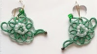 Teapot Earrings that were tatted by Marie McCurry