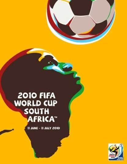 Lovely yellow poster commemorating last year's exciting soccer games.