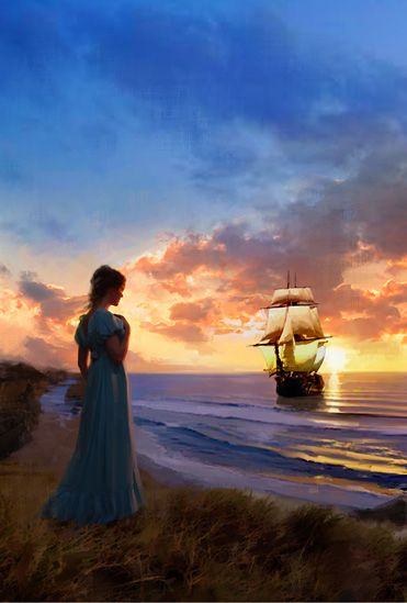 Dear Maureen, I love art that tells a story so I've chosen a painting by Judy York (cover art ) titled 'The Bride Ship'. I hope you had a great day! xoxo Marty