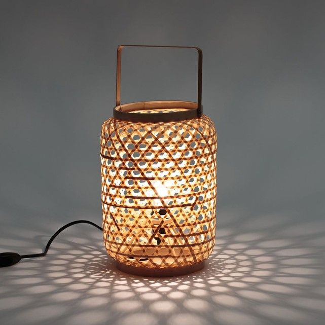 lampe a poser en bambou iska lampes