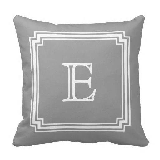Notched Corner Frame Gray Background Monogram Pillow