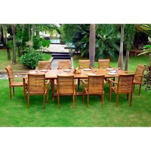 Salon en teck pour le jardin - table grande taille 10 fauteuils ...