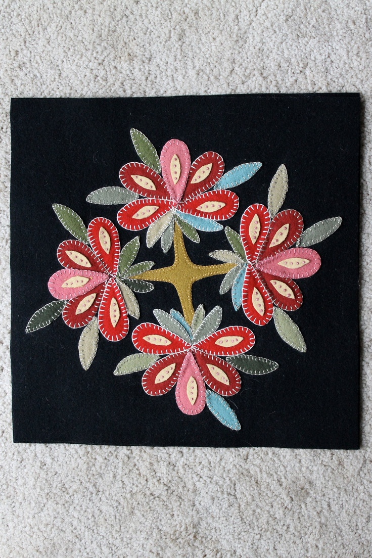 Applique wool pillow cover.