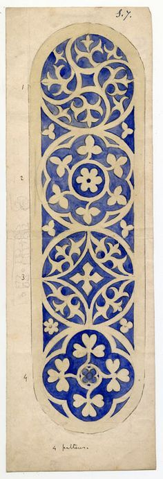 Could be adapted to Scherenschnitte - design by A.W. Pugin (1812-1852) of the Gothic Revival