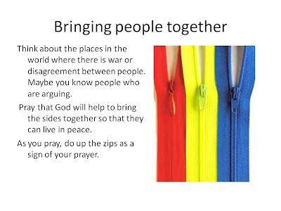 Praying for peace with children using zips!!