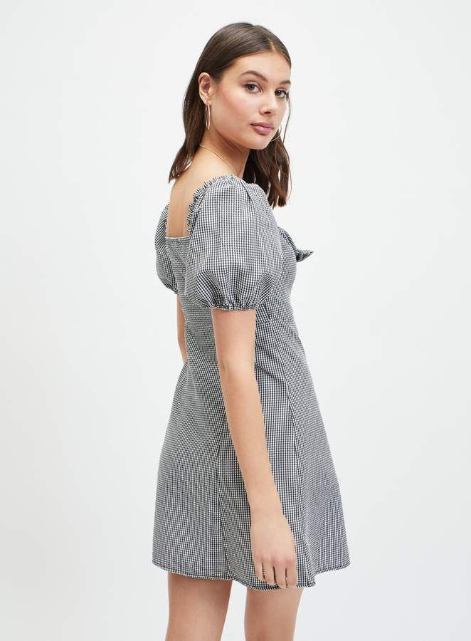 caf8bd6483cb Black Gingham Knot Front Mini Bardot Dress | FASHION: Summer ...