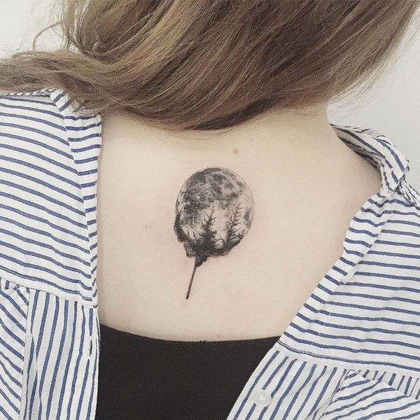Moon Tree Water Color Tattoo.