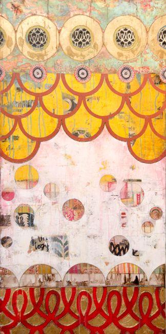 """Circus"", mixed media on canvas, 24""x48"", Jill Ricci"