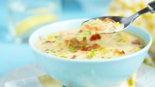 Maissuppe med reker