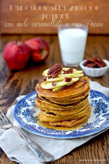 Pumpkin and yogurt pancakes - pancakes alla zucca e yogurt by La tana del coniglio