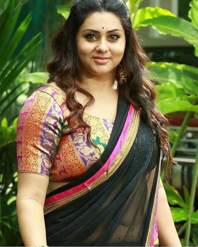 Hot Indian Actress In Sexy Black Transparent Wet Saree
