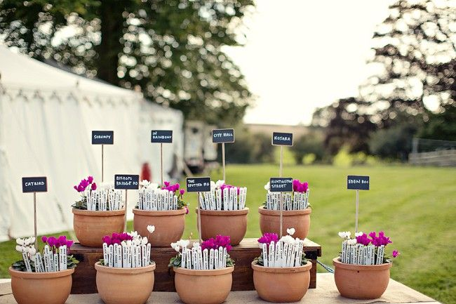 Pretty table plan, ideal at a garden wedding