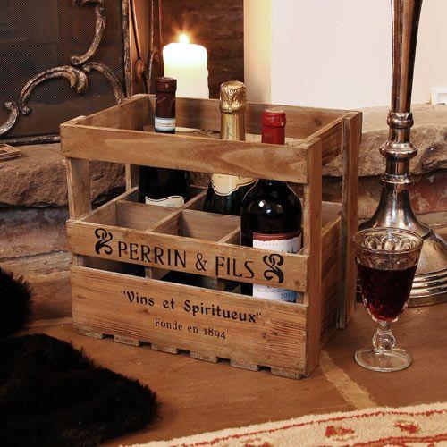 six bottle wine crate caisse porte bouteille casiers bouteilles pinterest porte. Black Bedroom Furniture Sets. Home Design Ideas
