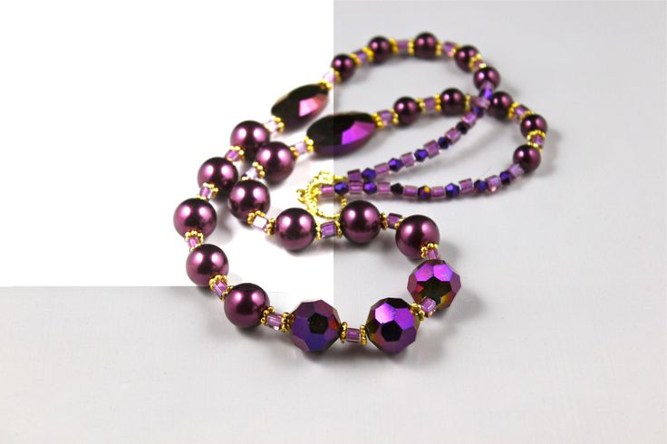 "22"" Iris Amethyst glass beads handmade beautiful necklace. Such a stunning piece of jewelry."