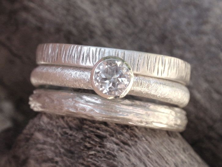 stackable rings engagement ring wedding ring set - sterling silver - 4mm natural white topaz gemstone - set of 3 - made to order. $85.00, via Etsy.: Wedding Ring, Natural White, 4Mm Natural, Sterling Silver, Wedding Band, Topaz Gemstone, Stacking Rings, Engagement Ring