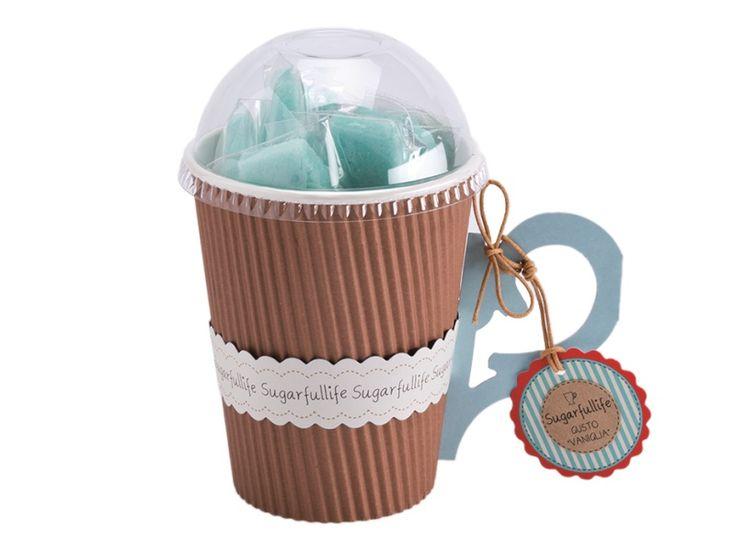 Tea Forte - TAZZA CARTONE RIGATINO  - Bastoncini Colore Celeste / Gusto Vaniglia