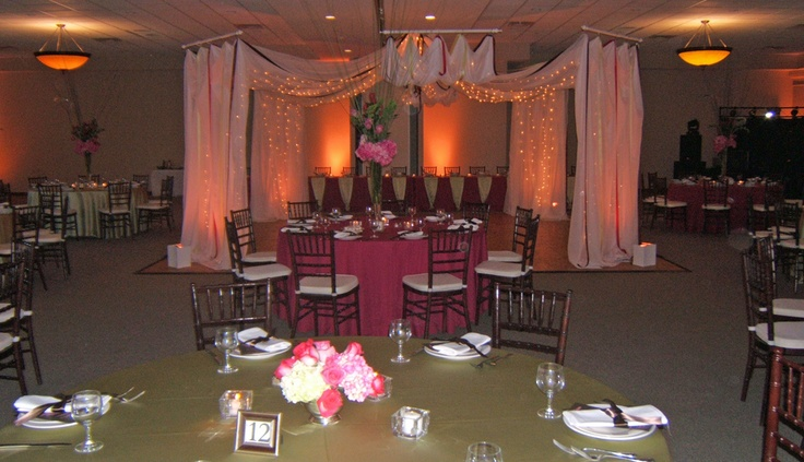 Twinkle lights and sheer draping make a magical dance floor. Columbus Ohio Wedding Reception Venues | Brookshire Facility