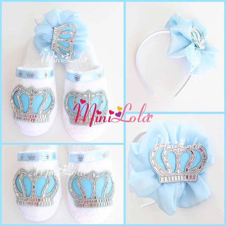 Mavi kral taçlı yaldızlı şeritli şifon çiçekli lohusa seti