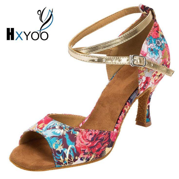 HXYOO 2017 New Arrived Women Latin Shoes Satin Soft Sole Red & Blue Flower Ballroom Dance Shoes Salsa High Heel Peep Toe WK006