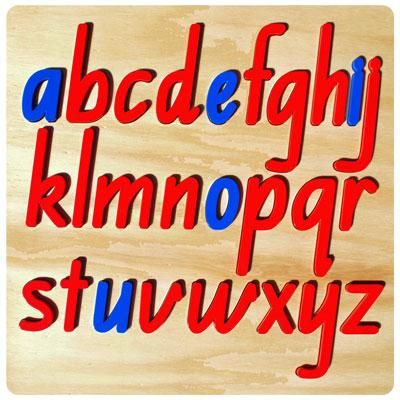Alphabet Board Wood Puzzles These look amazing, handmade and are in cursive of which you can pick the script you want. They are just short of getting the moveable alphabet.