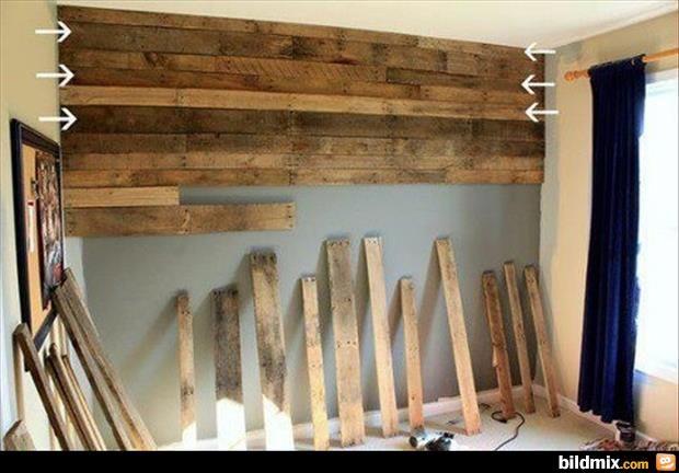 Tolle Gegenstände aus alten Paletten #9 | Holzwand ...