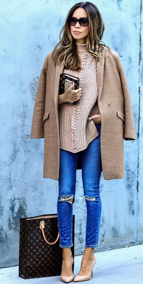 #fall #outfits · Camel Coat + Ripped Jeans + Oversized Sweater