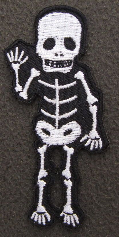WAVING SKELETON Iron On Patch Emo Goth Rock Punk