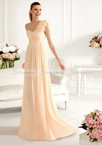 A-Line Sleeveless One-Shoulder Flowers Sweep Trailing Bridesmaid Dresses