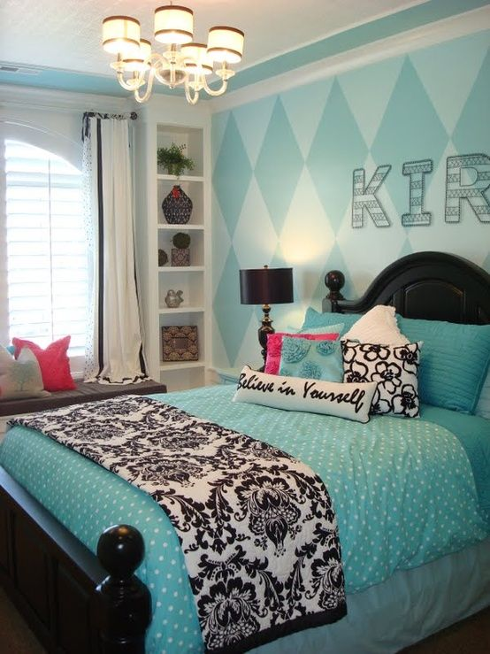 Girl's Turquoise Bedroom- love it!  Like the bookshelves around the windows.