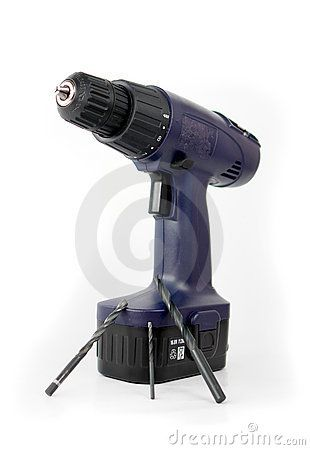 Cordless electric drill with three bits.
