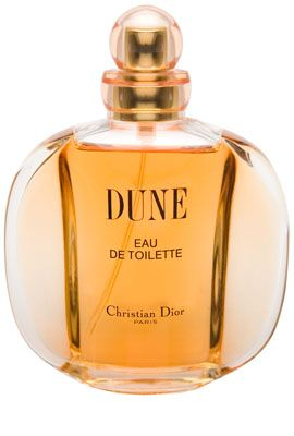 Dune Christian Dior for women  I can't make up my mind about this one. It's too strong at first, but when I turn around and catch the scent in the air around me it smells lovely.  Dune was launched in 1991. This perfume's top note includes bergamot, mandarin, palisander, aldehyde, peony and broom followed by heart note composed of jasmine, rose, ylang-ylang, lily, wallflower, lichen. Base notes are vanilla, patchouli, benzoin, sandalwood, amber, oakmoss, and musk.