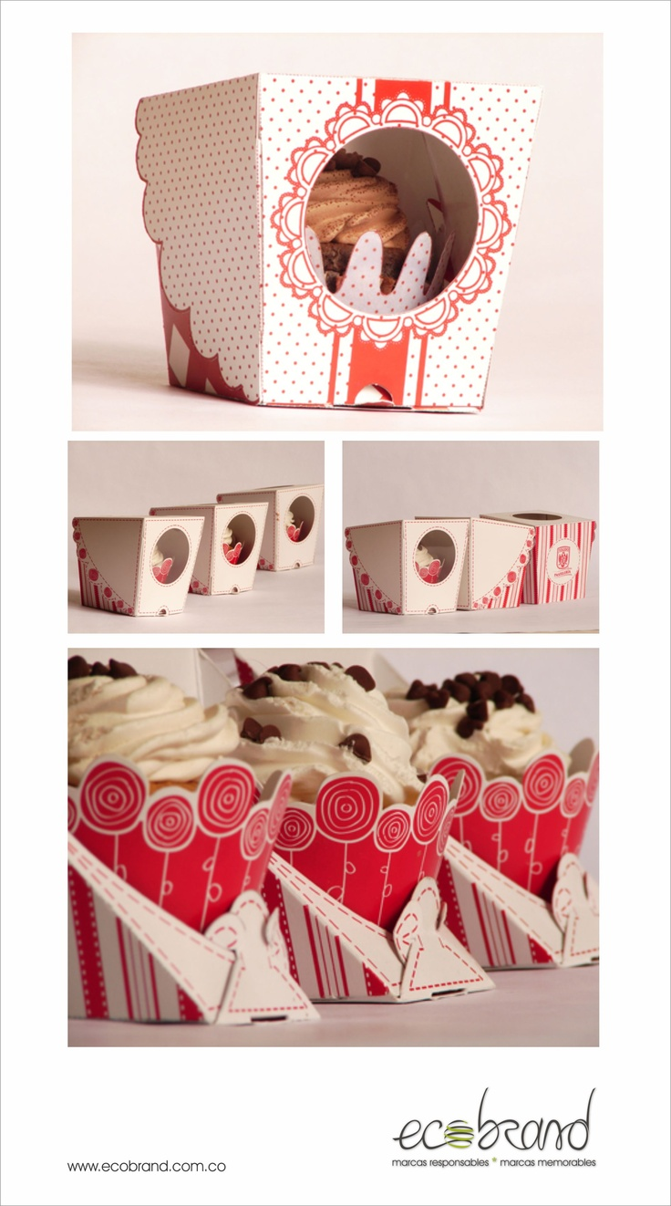 DISEÑO DE EMPAQUES - Empaque Cupcake - PACKAGING DESIGN - Cupcake Packaging -  www.ecobrand.com.co